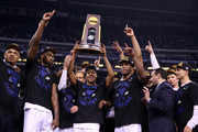 The Duke Blue Devils celebrate after defeating the Wisconsin Badgers during the NCAA Men's Final Four National Championship at Lucas Oil Stadium on April 6, 2015 in Indianapolis, Indiana. Duke defeated Wisconsin 68-63.