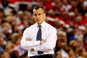 Head coach Billy Donovan of the Florida Gators looks on during the NCAA Men's Final Four Semifinal against the Connecticut Huskies at AT&T Stadium on April 5, 2014 in Arlington, Texas.