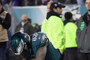 Torrey Smith #82 of the Philadelphia Eagles reacts after scoring his third quarter touchdown reception against the Minnesota Vikings in the NFC Championship game at Lincoln Financial Field on January 21, 2018 in Philadelphia, Pennsylvania.