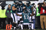 Torrey Smith #82 of the Philadelphia Eagles is congratulated by his teammates after scoring a third quarter touchdown against the Minnesota Vikings in the NFC Championship game at Lincoln Financial Field on January 21, 2018 in Philadelphia, Pennsylvania.