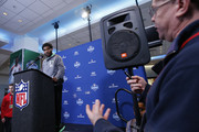 Wide receiver Braxton Miller #27 of Ohio State answers a question from the media during the 2016 NFL Scouting Combine at Lucas Oil Stadium on February 25, 2016 in Indianapolis, Indiana.