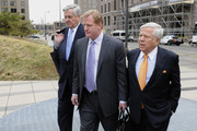NFL Commissioner Roger Goodell (C), NFL owners Jerry Richardson of the Carolina Panthers (L) and Robert Kraft of the Patriots leave court ordered mediation at the U.S. Courthouse on April 15, 2011 in Minneapolis, Minnesota. Mediation was ordered after a hearing on an antitrust lawsuit filed by NFL players against the NFL owners when labor talks between the two broke down last month.