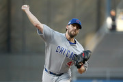 John Lackey #41 of the Chicago Cubs pitches in the first inning against the Los Angeles Dodgers in game four of the National League Championship Series at Dodger Stadium on October 19, 2016 in Los Angeles, California.