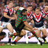 Greg Inglis Photos - Greg Inglis of the Rabbitohs is tackled  during the NRL Preliminary Final match between the Sydney Roosters and the South Sydney Rabbitohs at Allianz Stadium on September 22, 2018 in Sydney, Australia. - NRL Preliminary Final - Roosters v Rabbitohs