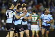 Chad Townsend of the Sharks celebrates with team mates after kicking a field goal during the round 20 NRL match between the Cronulla Sharks and the South Sydney Rabbitohs at Shark Park on August 03, 2019 in Sydney, Australia.