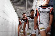 Benji Marshall (C) of the Tigers walks up the tunnel during the round eight NRL match between the Parramatta Eels and the Wests Tigers at Parramatta Stadium on April 29, 2012 in Sydney, Australia.