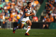 Benji Marshall of the Tigers runs with the ball during the round eight NRL match between the Parramatta Eels and the Wests Tigers at Parramatta Stadium on April 29, 2012 in Sydney, Australia.