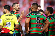 Greg Inglis of the Rabbitohs gives instructions to his team after a Dragons try during the NRL Semi Final match between the South Sydney Rabbitohs and the St George Illawarra Dragons at ANZ Stadium on September 15, 2018 in Sydney, Australia.