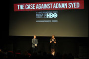 """Host/film producer Thom Powers and director/executive producer Amy Berg introduce NY premiere of HBO's """"The Case Against Adnan Syed"""" at PURE NON FICTION on February 26, 2019 in New York City."""