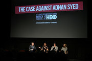"(L-R) Host/film producer Thom Powers, director/executive producer Amy Berg, participant Laura Estrada Sandoval and participant/producer Rabia Chaudry attend Q&A for NY premiere of HBO's ""The Case Against Adnan Syed"" at PURE NON FICTION on February 26, 2019 in New York City."