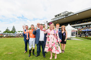 Jockey Michael Coleman, trainer Peter Williams and co-owner of Media Sensation, Sarah Green (L-R) celebrate after winning Race 7 Gavelhouse.com 46th New Zealand 1000 Guineas during New Zealand Cup and 1000 Guineas Day at Riccarton Park Racecourse on November 17, 2018 in Christchurch, New Zealand.