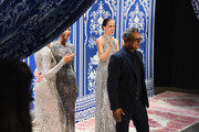 Designer Naeem Khan greets the audience with model Pat Cleveland at the Naeem Khan show during New York Fashion Week: The Shows at Gallery I at Spring Studios on February 12, 2019 in New York City.