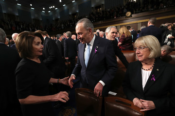 Nancy Pelosi Chuck Schumer Trump Addresses the Nation in His First State of the Union Address to Joint Session of Congress