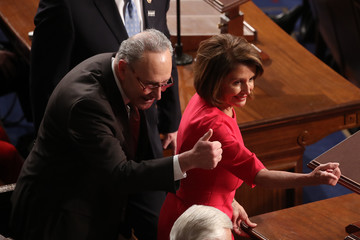 Nancy Pelosi Chuck Schumer House Of Representatives Convenes For First Session Of 2019 To Elect Nancy Pelosi (D-CA) As Speaker Of The House