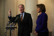 Ranking member of U.S. House Ways and Means Committee Rep. Richard Neal (D-MA) (L) speaks as House Minority Leader Rep. Nancy Pelosi (D-CA) (R) listens during a news conference November 9, 2017 on Capitol Hill in Washington, DC. Pelosi held her weekly news conference to discuss various topics, including the tax reform bill.