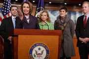 Outgoing Speaker of the House Nancy Pelosi (D-CA) (2nd L) holds a news conference with fellow House Democratic leaders (L-R) Rep. Henry Cuellar (D-TX), Rep. Debbie Wasserman Schultz (D-FL), Rep. Rosa DeLauro (D-CT) and Rep. Chris Van Hollen (D-MD) in the U.S. Capitol Visitors Center January 4, 2011 in Washington, DC. The Democratic leaders encouraged the incoming Republican majority to continue the previous Congress' policies of job and economic growth.