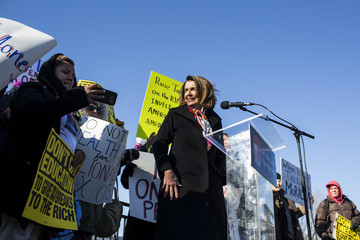 Nancy Pelosi Activists Demonstrate Against Republican Tax Plan on Capitol Hill