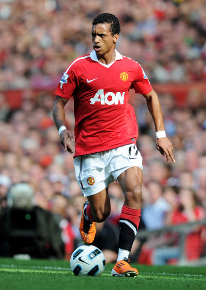 Nani Nani of Manchester United in action during the Barclays Premier League match between Manchester United and Fulham at Old Trafford on April 9, 2011 in Manchester, England.
