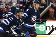 Patrik Laine #29 and Paul Stastny #25 of the Winnipeg Jets warms up prior to Game Six of the Western Conference Second Round during the 2018 NHL Stanley Cup Playoffs against the Nashville Predators on May 7, 2018 at Bell MTS Place in Winnipeg, Manitoba, Canada. (Photo by Jason Halstead /Getty Images) *** Local Caption *** Patrik Laine; Paul Stastny