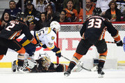 Pontus Aberg #46 of the Nashville Predators scores a goal as he falls to the ice against goaltender Jonathan Bernier #1 of the Anaheim Ducks in the third period of Game Five of the Western Conference Final during the 2017 Stanley Cup Playoffs at Honda Center on May 20, 2017 in Anaheim, California.