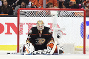 Goaltender Jonathan Bernier #1 of the Anaheim Ducks looks on after giving up a goal to Pontus Aberg #46 of the Nashville Predators (not in photo) in the third period of Game Five of the Western Conference Final during the 2017 Stanley Cup Playoffs at Honda Center on May 20, 2017 in Anaheim, California.