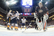 Mattias Ekholm #14, Roman Josi #59, Pontus Aberg #46 and Colton Sissons #10 of the Nashville Predators celebrate Aberg's goal as Jonathan Bernier #1 of the Anaheim Ducks looks down to the ice in the third period of Game Five of the Western Conference Final during the 2017 Stanley Cup Playoffs at Honda Center on May 20, 2017 in Anaheim, California. The Predators defeated the Ducks 3-1.