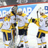 Calle Jarnkrok Photos - Calle Jarnkrok #19 and Yannick Weber #7 congratulate Pekka Rinne #35 of the Nashville Predators after defeating the Winnipeg Jets in Game Six of the Western Conference Second Round during the 2018 NHL Stanley Cup Playoffs on May 7, 2018 at Bell MTS Place in Winnipeg, Manitoba, Canada. - Nashville Predators Vs. Winnipeg Jets - Game Six