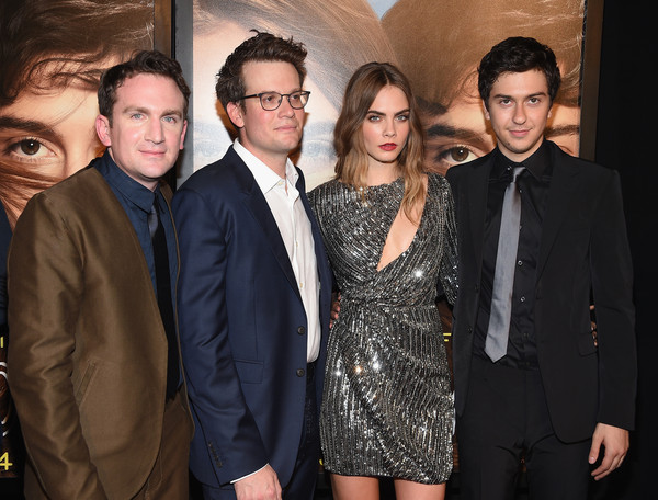 Stars Attend the 'Paper Towns' New York Premiere [paper towns,suit,event,premiere,fashion,eyewear,fun,formal wear,vision care,white-collar worker,smile,john green,jake schreier,inside arrivals,actors,cara delevingne,nat wolff,l-r,new york,new york premiere]