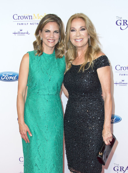 41st Annual Gracie Awards Gala - Arrivals [dress,cocktail dress,clothing,hairstyle,blond,fashion,long hair,carpet,premiere,sheath dress,arrivals,tv personalities,natalie morales,kathie lee gifford,valerie macon,beverly hills,l,afp,annual gracie awards gala,annual gracies awards gala]