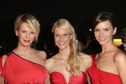 Monica Ivancan, Natascha Gruen and Judith Dommermuth attend the Natascha & Gernot Gruen  'Golden Red Christmas Night' Party on December 19, 2012 in Munich, Germany.