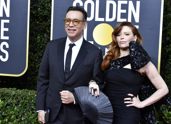 77th Annual Golden Globe Awards - Arrivals [formal wear,white-collar worker,suit,event,photography,tuxedo,movie,style,arrivals,natasha lyonne,fred armisen,l-r,beverly hills,california,the beverly hilton hotel,golden globe awards,natasha lyonne,fred armisen,orange is the new black,portlandia,new york,actor,the golden globe awards ceremony,beverly hills,photograph,celebrity]