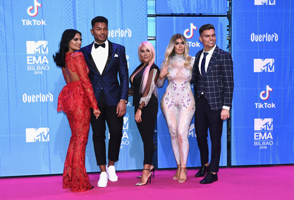 MTV EMAs 2018 - Red Carpet Arrivals [red carpet,carpet,event,fashion,flooring,premiere,performance,suit,award,fashion design,red carpet arrivals,guest,chloe ferry,sophie kasaei,nathan henry,sam gowland,l-r,bilbao exhibition centre,mtv,mtv emas]