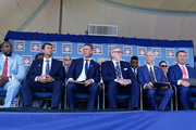 (L-R) Inductees Vladimir Guerrero, Trevor Hoffman, Chipper Jones, Jack Morris, Alan Trammell and Jim Thome are introduced at Clark Sports Center during the Baseball Hall of Fame induction ceremony on July 29, 2018 in Cooperstown, New York.