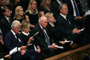 (L-R) Former U.S. President Bill Clinton, former Secretary of State Hillary Clinton, former U.S. Vice President Dick Cheney, Lynne Cheney, and former U.S. Vice President Al Gore attend the funeral service for U.S. Sen. John McCain at the National Cathedral  on September 1, 2018 in Washington, DC. The late senator died August 25 at the age of 81 after a long battle with brain cancer. McCain will be buried at his final resting place at the U.S. Naval Academy.