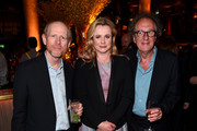 """Director and Executive Producer Ron Howard and actors Emily Watson and Geoffrey Rush attend a reception for the London Premiere Screening for National Geographic's """"Genius"""" held at Quaglino's on March 30, 2017 in London, England."""