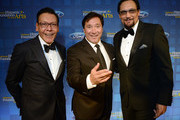 Felix Sanchez, along with actors Benito Martinez and Jimmy Smits, attend the National Hispanic Foundation for the Arts 2017 Noche de Gala at The Mayflower Hotel on September 11, 2017 in Washington, DC.