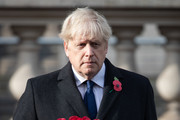 Britain's Prime Minister Boris Johnson attends a National Service of Remembrance at the Cenotaph in Westminster, amid the spread of coronavirus (COVID-19) disease on November 8, 2020 in London, England. Remembrance Sunday services are still able to go ahead despite the covid-19 measures in place across the various nations of the UK. Each country has issued guidelines to ensure the safety of those taking part.