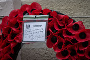 A wreath with a note from British Prime Minister, Boris Johnson, following the National Service of Remembrance at The Cenotaph on November 8, 2020 in London, England. Remembrance Day services were substantially scaled back today due to the current restrictions on gatherings, intended to curb the spread of covid-19.