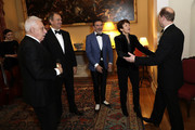 (L-R) David Pearl, Hugh Bonneville, Paul Roseby OBE, Dawn Airey and Prince Edward, Earl of Wessex attend the National Youth Theatre Baroque And Roll Fundraising Gala 2020 at Spencer House on February 11, 2020 in London, England.