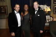 (L-R) James O'Keefe, Beverley Knight and Prince Edward, Earl of Wessex attend the National Youth Theatre Baroque And Roll Fundraising Gala 2020 at Spencer House on February 11, 2020 in London, England.