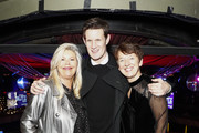 (L-R) Jacquie Lawrence, Matt Smith and Dawn Airey, Chief Executive Officer of Getty Images, attend the annual National Youth Theatre Fundraising evening at Cafe Royal on November 26, 2018 in London, England.