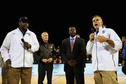 (L-R) Head coach John Thompson III of the Georgetown Hoyas, the honorable Ray Mabus the Secretary of the Navy,  Alvin Brown the Mayor of Jacksonville and head coach Billy Donovan of the Florida Gators address the crowd to announce the game is canceled due to condensation on the court during the Navy-Marine Corps Classic aboard the USS Bataan at Mayport Naval Air Station on November 9, 2012 in Jacksonville, Florida.