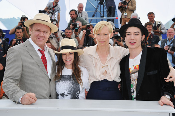 (L-R) Actor John C. Reilly, director/writer Lynne Ramsay, actress Tilda Swinton and actor Ezra Miller attend the 'We Need To Talk About Kevin' photocall during the 64th Annual Cannes Film Festival at the Palais des Festivals on May 12, 2011 in Cannes, France.