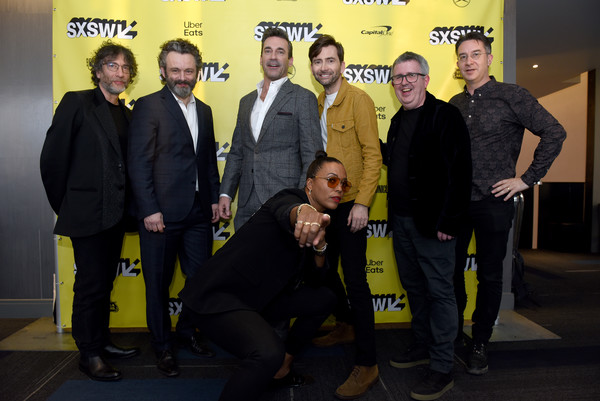 Good Omens: The Nice and Accurate SXSW Event [good omens: the nice,yellow,social group,event,team,premiere,neil gaiman,david tennant,aisha tyler,douglas mackinnon,michael sheen,jon hamm,rob wilkins,l-r,accurate sxsw event]