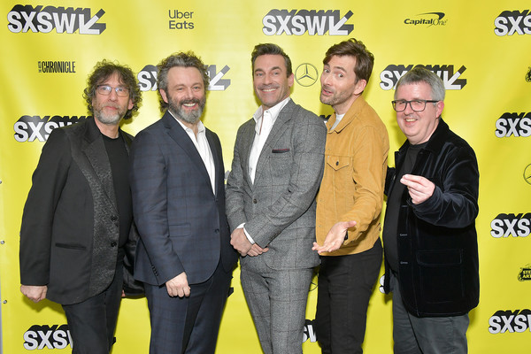Good Omens: The Nice And Accurate SXSW Event - 2019 SXSW Conference And Festivals [good ``omens: the nice and accurate,yellow,event,premiere,neil gaiman,douglas mackinnon,writer,actors,michael sheen,david tennant,l-r,sxsw conference,festivals]