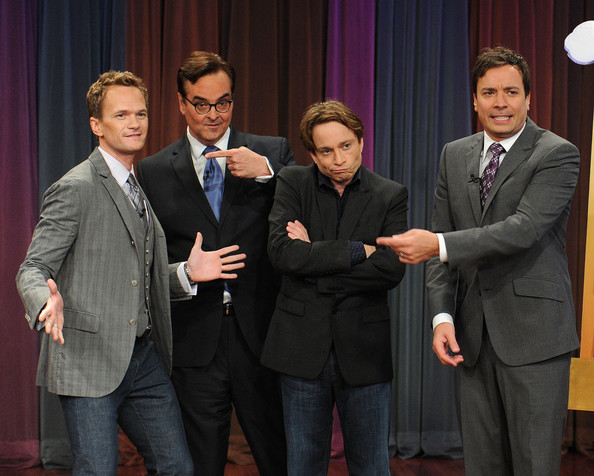 "Neil Patrick Harris, Steve Higgins, Chris Kattan and Jimmy Fallon visit ""Late Night With Jimmy Fallon"" at Rockefeller Center on July 27, 2011 in New York City."