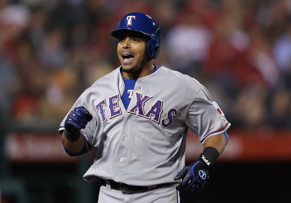 Nelson Cruz #17 of the Texas Rangers reacts after hitting a three-run home run in the fourth inning against the Los Angeles Angels of Anaheim at Angel Stadium of Anaheim on April 24, 2013 in Anaheim, California. .