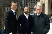 """(L-R) Frederic Levy, Ugo Rondinone and Michael Bloomberg attend Nespresso announces premier partnership with """"Human Nature by Ugo Rondinone"""" Exhibit on April 22, 2013 at Rockefeller Center in New York City."""