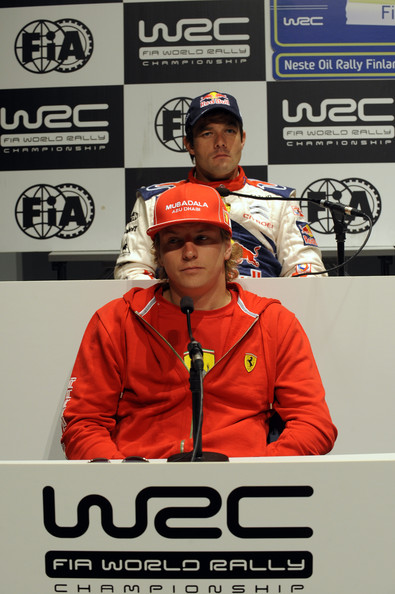 Kimi Raikkonen of Finland and Sebastien Loeb of France during the FIA Pre Event Press Conference in Jyvaskyla, Finland