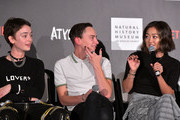 "(L-R) Brigette Lundy-Paine, Keir Gilchrist, and Amy Okuda speak onstage during Netflix ""Atypical"" Season 3 special screening at Natural History Museum on October 28, 2019 in Los Angeles, California."